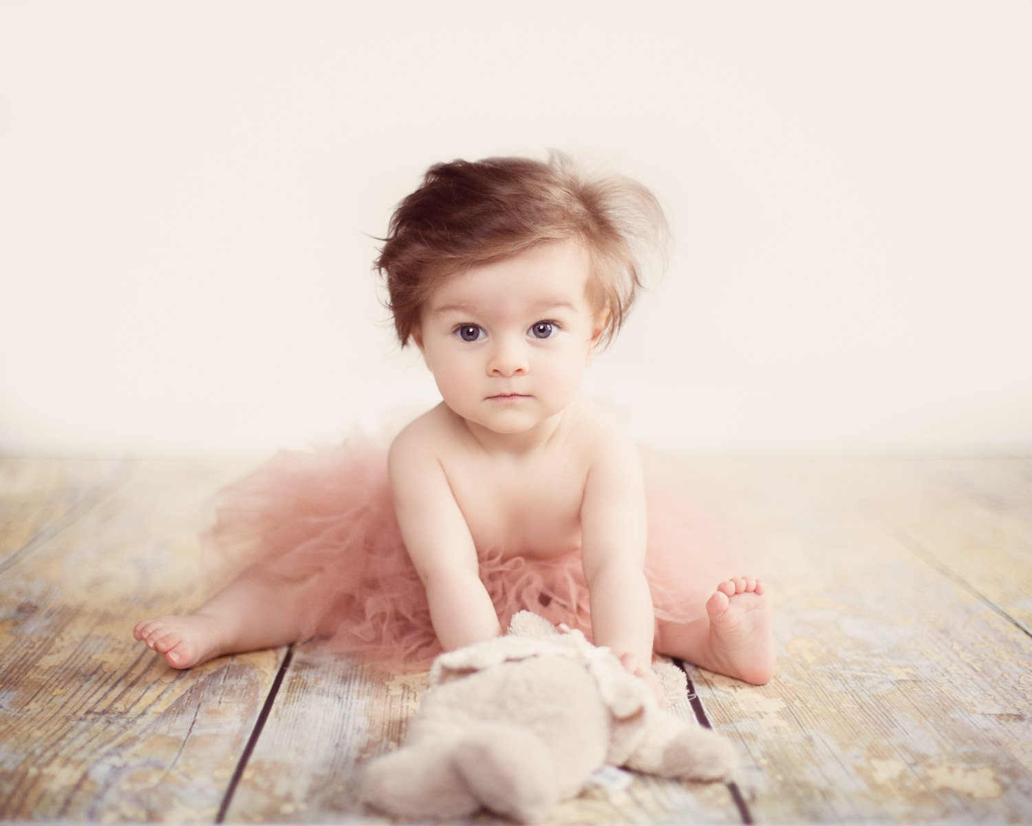 Baby girl in pink tutu holding teddy bear
